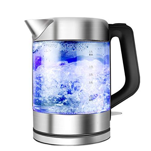 YliJkeT Bouilloires électriques Bouilloire électrique 1,5L en verre borosilicate transparent +304 en acier inoxydable Bouilloire électrique Bouilloire Théière Bouilloire photoélectrique bleue