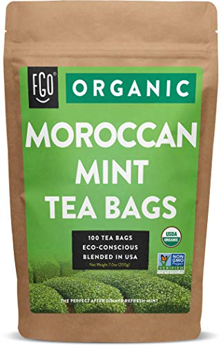 Organic Moroccan Mint Green Tea Bags | 100 Tea Bags | Eco-Conscious Tea Bags in Kraft Bag | Raw from Morocco | by FGO