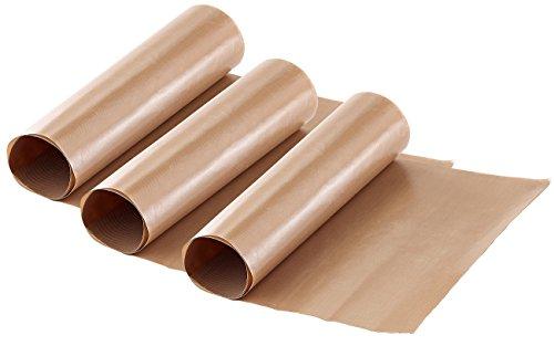 Rosenstein & Söhne Dauerbackfolie: Dauer-Backpapier & Antihaft-Bratfolie aus Glasfaser, beige, 3 Stück (Backofenschutzfolie)