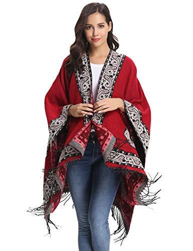 Abollria Sciarpa Capes Donna Poncho Geometrica Elegante Mantelle Fatti a Maglia con Frange Scialle Cardigan Cappotto per Primavera Autunno Inverno