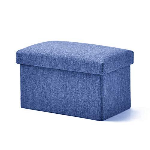 VEL 収納スツール 収納ボックス オットマン 折りたたみ式 座椅子 ストレージチェア 足置き 踏み台 大容量収納 耐荷重150kg 綿麻製 衣類収納 小物収納 リビング/玄関/寝室適用 40*25*25cm [並行輸入品] … (ネイビー)