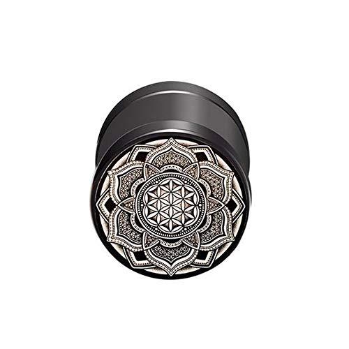 BlackAmazement Pendiente falso de acero inoxidable 316L, diseño de flor de la vida, 10 mm, color negro, rosa, dorado, azul, arco iris, plateado, para hombre y mujer