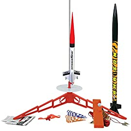 Estes tandem-x flying model rocket launch set orange, 30 inches 2 the is quick and easy to assemble, this huge rocket, standing 30in tall, can reach heights over 650 feet with recovery on a colorful 18 inch preassembled parachute the crossfire can easily be built in about a day and features a totally streamlined shape with aerodynamic fins and nose cone. This bullet can reach cloud busting heights up to 1, 200 feet estes model rocketry is recommended for ages 10 and up with adult supervision for those under 12. Recommended engines: a8-3 (first flight), b4-4, b6-4, c6-5, c6-7