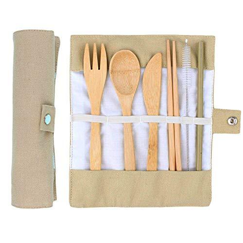 ANSUG 6 Stück Bambus Besteck Set, Reise Mittagessen Besteck Wiederverwendbare Holz Utensilien mit Stoffbeutel für Reisen Camping Küche