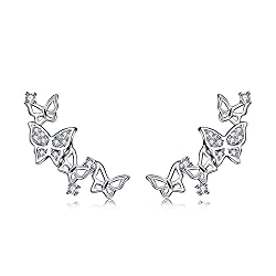 Genuine 925 Sterling Silver Wrap Pierced Ear Climber Earrings. Nickel Free and Hypoallergenic. Size: 2CM*0.8CM (0.8IN*0.3IN) These delicate earrings inlay hight quality cubic zirconia(CZ) that will not fall off. CZ is a synthetic gemstone that is sim...