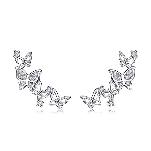 QUKE 925 Sterling Silber Zirkonia Kristall 3D Schmetterling Design Ear Cuff Braut Ohrstecker Ohrringe