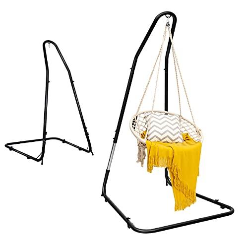 RELAX4LIFE Hängestuhlgestell Metall Höhenverstellbar, Hängesesselgestell bis 150 kg belastbar, Hängesitzständer mit lackierten Eisenrohren, Hängestuhlständer Hängesitzgestell mit Stabiler Struktur