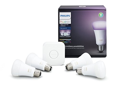 Hue White & Colour Ambiance A19 4 Pack Starter Kit (Compatible with Amazon Alexa, Apple Home Kit and Google Assistant)