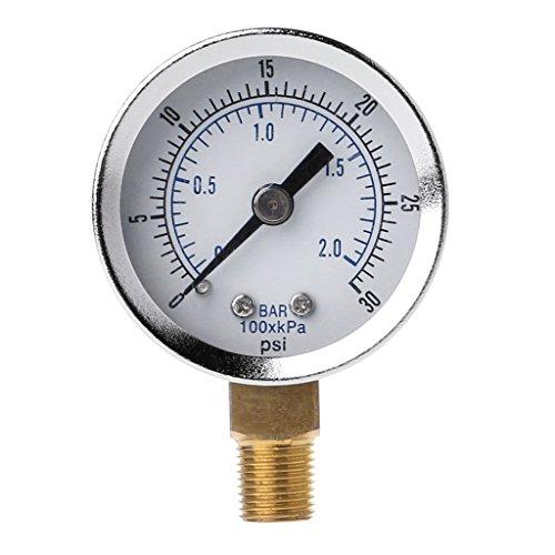 Sweo Luftdruckmessgerät 1/8 Zoll NPT Luftkompressor Hydraulisches Wasser Gasdruckmessgerät Manometer 0-30 PSI Bodenmontage