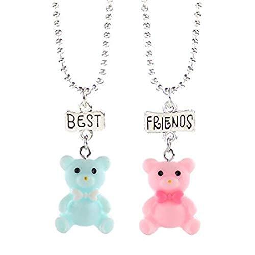 yichahu Lindo caramelo de color lazo azul rosa colgante collares para niños mejor amigo collar de los niños amor joyería regalos