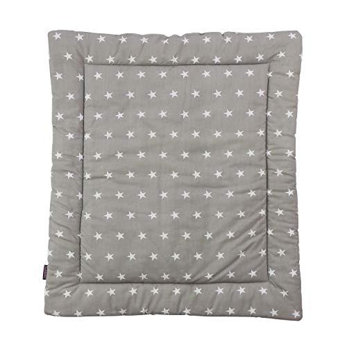 Puckdaddy Materassino per fasciatoio Frida, 65x75 cm, morbido cuscino supporto in 100% cotone, lavabile in lavatrice, grigio a stelline bianche e puntini