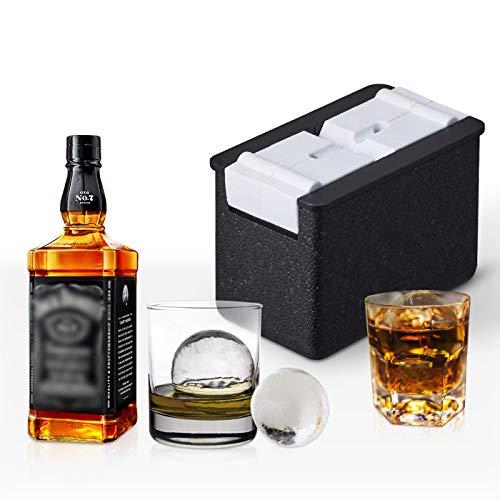 Eiskugel-Form für kristallklare Eiskugeln, Eiskugel-Form für Whiskey, blasenfrei, 2 Hohlräume je 6 cm, Silikon