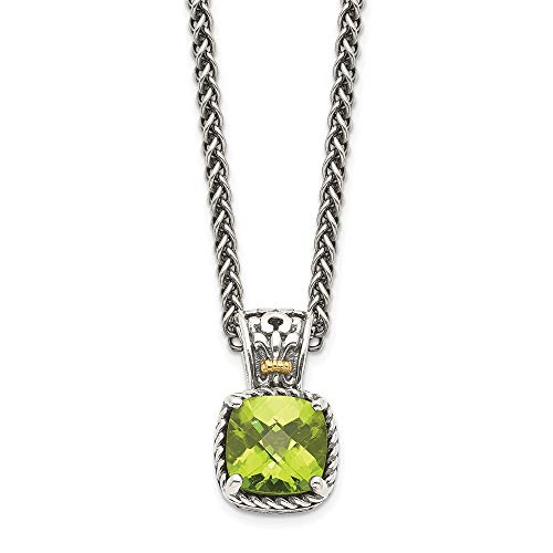 Sterling Silver and 14k Yellow Gold Peridot Necklace