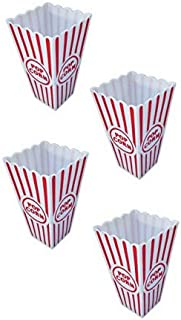 Ifavor123 Popcorn Snacks Movie Carnival Fun Party White and Red Plastic Containers – 4 Pack