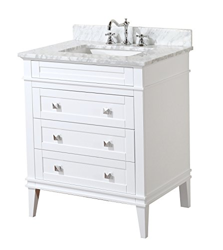 Eleanor 30-inch Bathroom Vanity (Carrara/White): Includes White Cabinet with Authentic Italian Carrara Marble Countertop and White Ceramic Sink