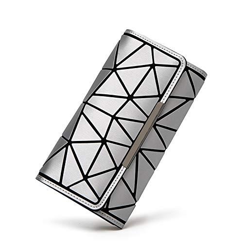 QXbecky Wallet, Geometric Rhombus, Matte tri-fold Long, Luminous Female Bag 19x10cm