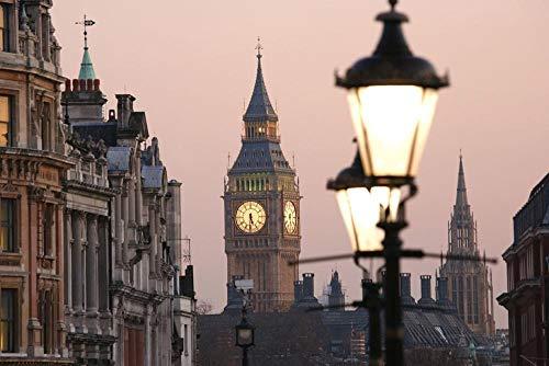 Digitaal schilderij om te knutselen Londen Big Ben met staande lamp, geschenken, decoratie voor woonkamer, creatief, casual, handbeschilderd, zonder lijst, 40 x 50 cm