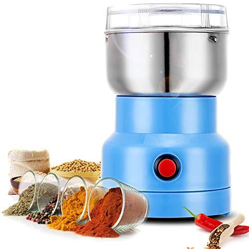 Multifunction Smash Machine,250W Macinacaffè Elettrico Coffee Grinder Smerigliatrice Multifunzione Polverizzatore in Acciaio Inossidabile per Erbe Domestiche,Spezie (Blu 1)