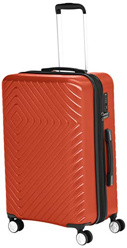 AmazonBasics Geometric Travel Luggage Expandable Suitcase Spinner with Wheels and Built-In TSA Lock, 27.2-Inch - Orange