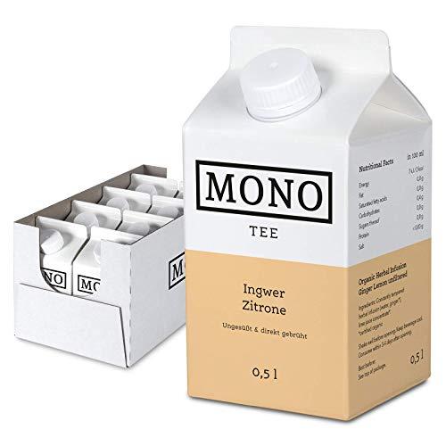 Mono Tee - Zuckerfreier Bio-Eistee Ingwer Zitrone - Ungesüßter und erfrischender Durstlöscher - Die Alternative zu Wasser im 8er Pack (8x 500ml)