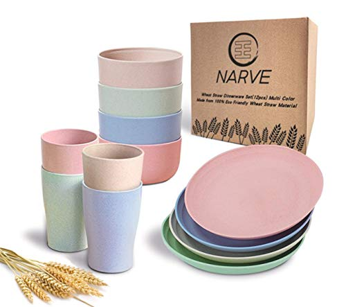 Wheat Straw Dinnerware Sets(12pcs) Multi Color-Unbreakable Microwave Safe-Lightweight Bowls, Cups,...