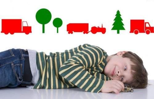 Broomsticker On The Road enfants et chambre d'enfant Autocollant mural, Moss Green/Strawberry Red, Small: 50cm width