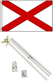 ALBATROS 3 ft x 5 ft St. Patrickins Cross Flag White with Pole Kit Set for Home and Parades, Official Party, All Weather Indoors Outdoors