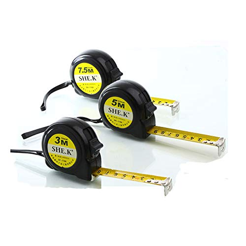 NUZAMAS 3本の測定テープセット25フィート(7.5m)、16フィート(5m)、10フィート(3m)の引出し可能なヘビーデューティ、メトリック、インチおよびインペリアル測定 - 建設、請負業者、DIYイエロー用のプロフェッショナル測定テープ