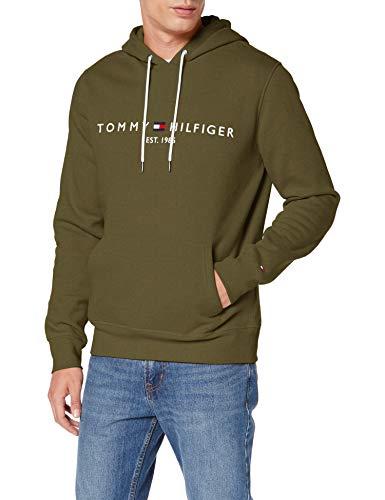 Tommy Hilfiger H Sudadera con Capucha, Cordón, Logo y Bolsillo Canguro, Utility Olive, M para Hombre