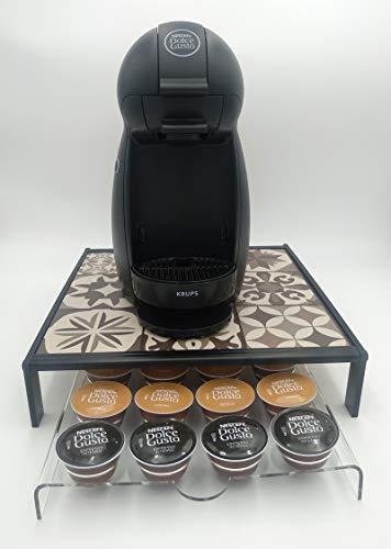 Laserplast Base para cafetera y Soporte cápsulas café Dolce Gusto de metacrilato - Base de 30x30 cm y soporte para 20 cápsulas - Dispensador Porta cápsulas transparente (Ladrillo hidraulico)