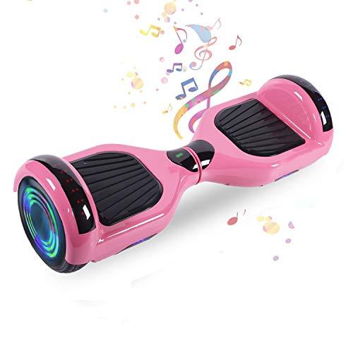 HappyBoard 6.5'' Hoverboard Patinetes de Acrobacias Patinete Eléctrico Bluetooth Monopatín Scooter Autobalanceado, Ruedas de Skate con luz LED, Motor Bluetooth de 700W (Rosa)