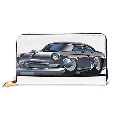 Damen Lange Leder Kartenhalter Geldbörse Reißverschluss Schnalle Elegante Kupplung Brieftasche, Retro inspiriertes Auto Design mit asymmetrischen Reifen Schnelle Auto-Geschwindigkeit Cooles