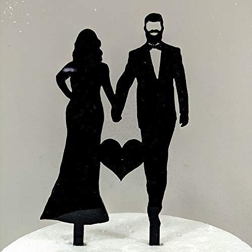 Il Villaggio degli Sposi s.a.s. Cake Topper Acrilico Intagliato al Laser Sposa curvee(Formosa) Sposo con Barba Made in Italy