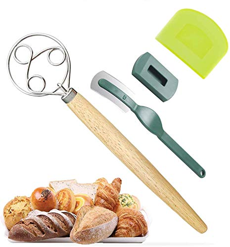 Danish Dough Whisk, Stainless Steel Dough Mixer with Plastic Dough Scraper, Bread Trimming Blade for...