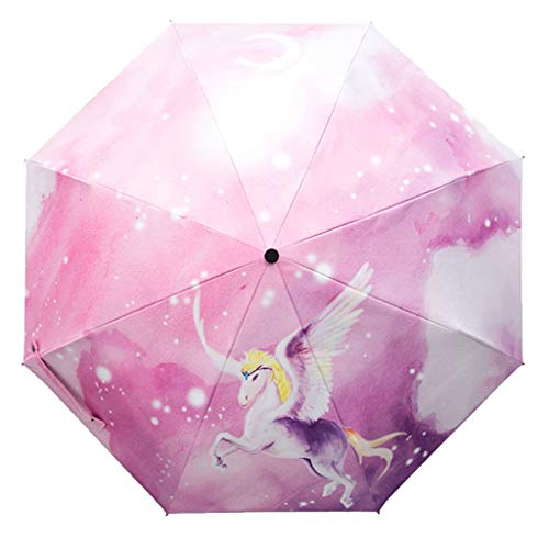 Illustrator-Regenschirm, der doppelt verwendbaren Sonnenschirm faltet Sonnenschutz UV Student Goddess Sun Umbrella HZYDD (Color : B)