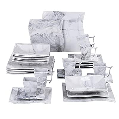 MALACASA 30-Piece Marble Grey Dinnerware Set,Porcelain Square Dinner Sets with Dinner Plates, Soup Plates and Dessert Plates,Cups and Saucers Set,Service for 6,Series Flora