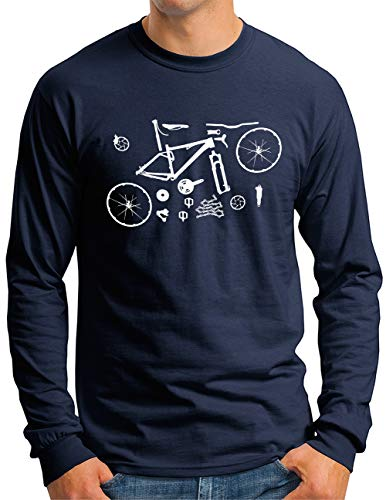 OM3® Mountain-Bike-Parts Langarm Shirt | Herren | MTB Bicycle Fahrrad Radsport Radfahrer | Navy, S