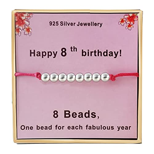 Birthday Gifts for 8th Girls Silver Beads Bracelet Presents Cards for 8 Years old Little Girl Jewellery Gift Ideas