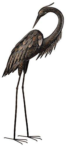 Creekwood Reiher-Statue, groß, 109cm hoch, Vogel aus pulverbeschichtetem Metall, Statue/Ornament, mit 15,2 cm Erdspieß (Reiher putzt sich)