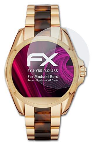 atFoliX Glasfolie kompatibel mit Michael Kors Access Bradshaw 44.5 mm Panzerfolie, 9H Hybrid-Glass FX Schutzpanzer Folie