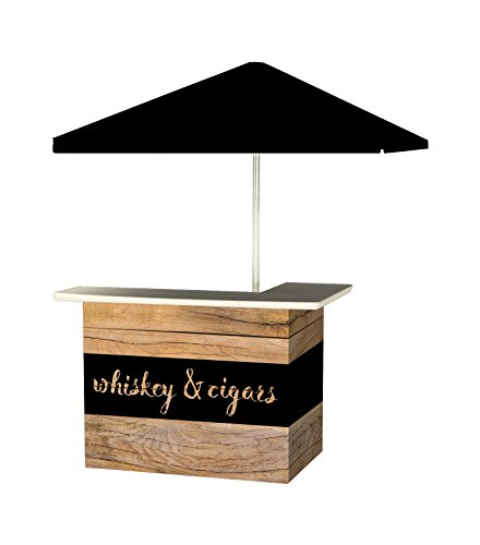 Best of Times 2001W2508 Whiskey & Cigars Portable Bar and 8 ft Tall Square Umbrella, One Size, Black
