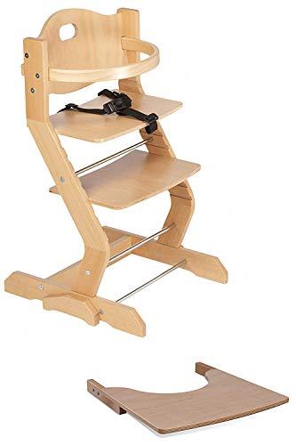 tiSsi - Seggiolone con arco, tavolo, cinghia e cinghia in legno di faggio naturale, vincitore del test con certificazione ÖKO-TEST, beige