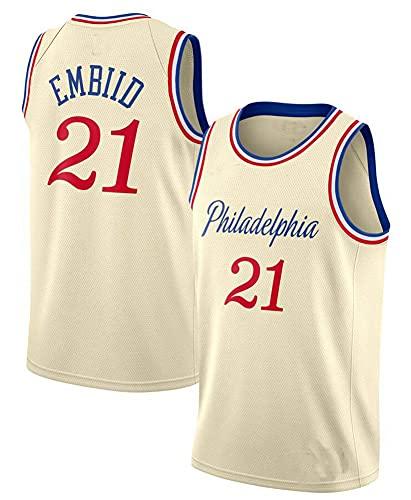Hombre Jersey,NBA Team 76 n#21 Embiid Ropa de Baloncesto,Camisetas Al Aire Libre Casual Mujer Redondo CháNdales,White,S
