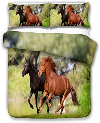 DUVETWEI Kids Duvet Cover with 2 Pillowcases,Print Bedding Set with Zipper Closure,Boys Children Quilt Cover (1 Duvet Cover 230x220 cm /2 Pillow Cases 50x75 cm)Green grassland trees animals horse lan