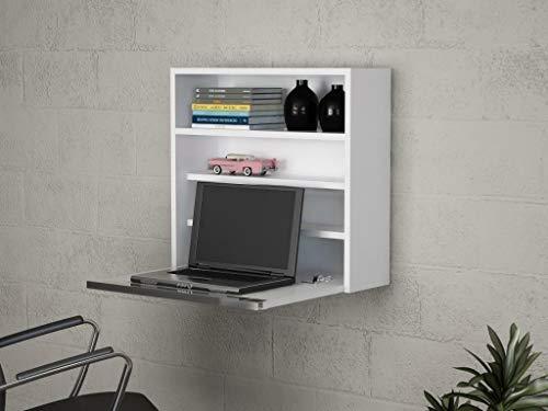 Alphamoebel 4234 Violin Schreibtisch, Computertisch, Arbeitstisch, Bürotisch, Laptoptisch, PC Tisch Weiß, Wandmontage, mit Ablage, 64 x 60 x 24 cm