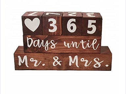 Wooden Block Wedding Day Countdown Calendar, Mr. & Mrs. Days Until, Years Since, Numbered Blocks, Engagement Gift, Wedding Congratulations, Bridal Shower, Newlyweds, Wedding Gift for Couple