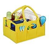 Relaxdays Baby Windel Caddy, 11 Fächer, entnehmbare Trenner, tragbare Filztasche, Auto & Wickeltisch Organizer, gelb