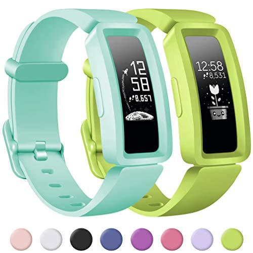 Wepro Kompatibel mit Fitbit Ace 2 Armband/Fitbit Inspire HR Armband für Kinder, Vollschutz Weiche Silikon Sprot Ersatz Armbänder für Fitbit Aces 2 / Inspire (HR) Mädchen Jungen - Bluesea/Lime
