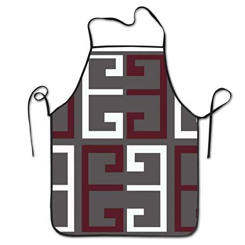 Lawenp Delantal con Peto Ajustable Delantal Cosido, Gris Granate y Blanco, Delantales de Cocina para cocinar, para Mujeres, Hombres, Chef, Barbacoa 28,3 x 20,5 Pulgadas