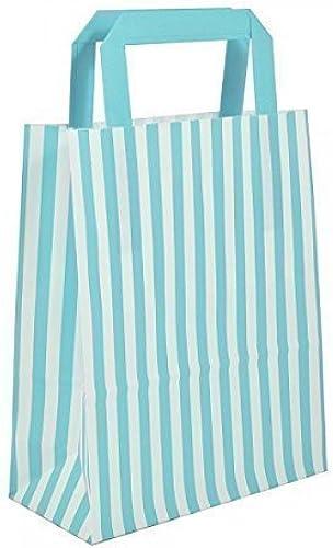 1000 Blau Candy Stripe Papiertragetaschen mit flachen Griffen 26cm x 35cm x 12  wecansourceit